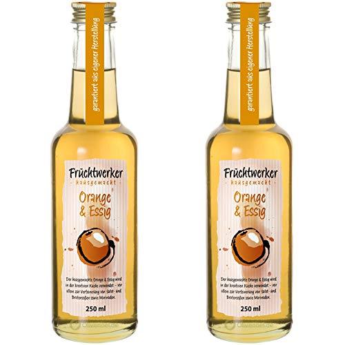 Fruchtwerker | Orange & Essig | Mit Saft aus echten Früchten| 2er Pack | 2x 250ml Glasflasche
