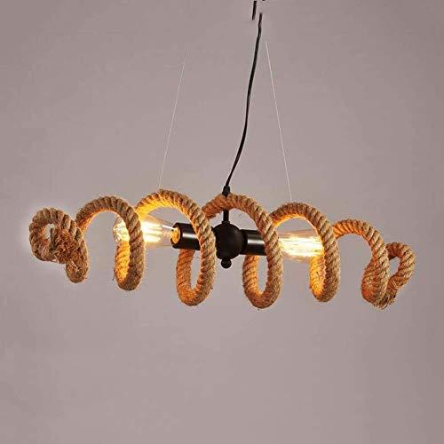 miwaimao Lámpara de araña de hierro forjado vintage, lámpara colgante de luz Nordic Creative Water Pipe de cáñamo cuerda de araña, salón, dormitorio, comedor, decoración creativa E14, B