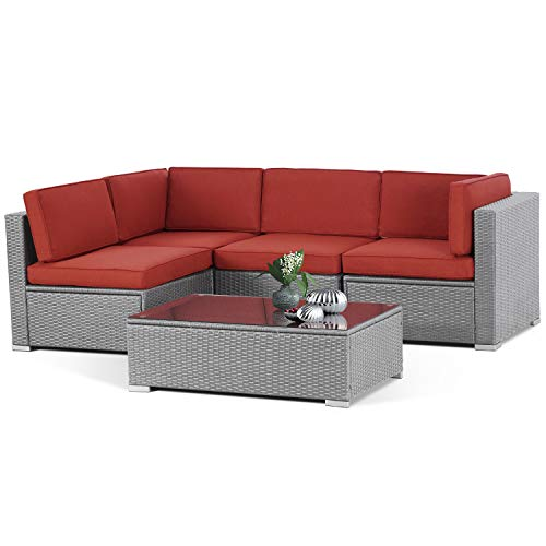 SUNCROWN Outdoor 5-Piece Patio Furniture Sets,All-Weather Black Rattan Wicker Sectional Sofa with YYK Zipper and Tempered Glass Table,Washable Cushions(Red)