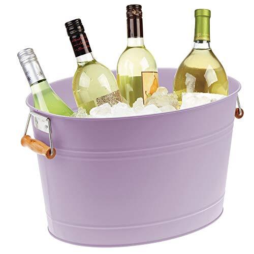 mDesign Champanera de metal – Enfriador de botellas decorativo con asas – Ideal como cubo para enfriar bebidas como vino, cerveza, cava o refrescos – lila claro
