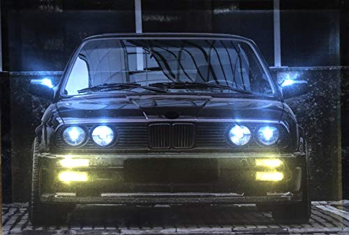 Samarkand - Lights LED-Bild mit Beleuchtung LED- Bilder Leinwandbild 65 x 45 cm Leuchtbild Auto/Oldtimer/Sportwagen E30 Black Wandbild