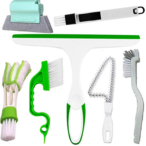 Window Groove Cleaning Brush Set - Hand-Held Door Window Sliding Track Crevice Gap Corner Cleaning Brush &Cleaner Squeegee for Car Shower Doors House Glass Cleaning Tools Gadgets Kits