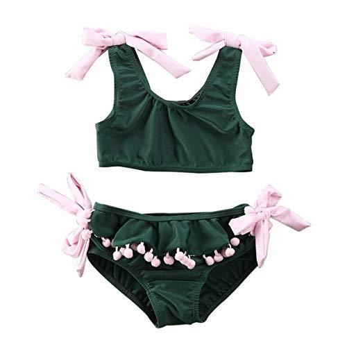 Loalirando Costumi da Bagno Bambina Estate Neonate Bikini Carino Costumi Mare Bimba Due Pezzi Costume da Bagno Verde dei Bambini Costume da Bagno della Ragazza