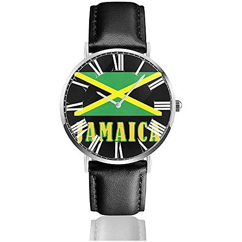 Jamaika Flaggen Uhr Lässige Armbanduhren aus schwarzem Leder