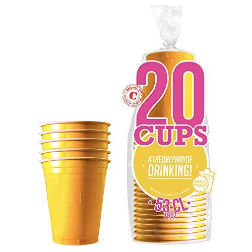 Pack de x20 Original Yellow Cups Officiels | Gobelets Américains 53cl Jaunes | Beer Pong | Qualité Premium | Gobelets en Plastique Réutilisables | Lavables Main et Lave-Vaisselle | OriginalCup®