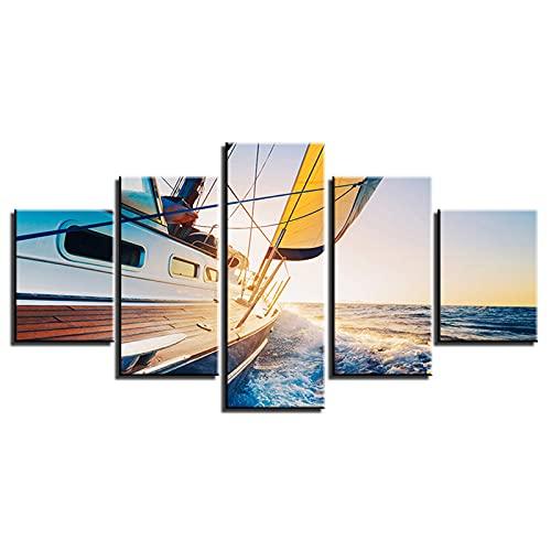 Decoración del hogar moderna lienzo de inyección de tinta pintura al óleo cuadros de pared cuadros colgantes cinco barcos de vela de mar, pintura de lienzo pintura de pared barcos de puente de hierro