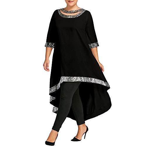 Vovotrade Damesjurk, oversized XL-XXXXXXL, O-hals, driekwart pailletten, trim, hoge low jurk, vrouwen, plus-size, mode, bloemenfeest, voor een cocktailparty, bruiloft en boho