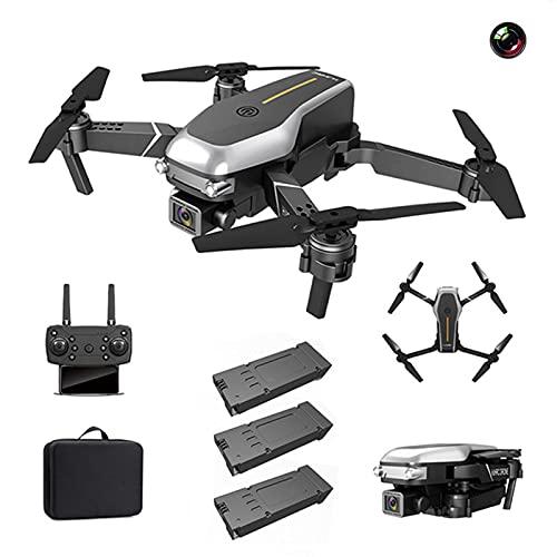 QiaoJia Drone HJ95 con cámara Dual 4K HD para Adultos, Quadcopter Plegable Profesional WiFi FPV, Drone RC Puede Volar Durante 36 Minutos con 3 baterías