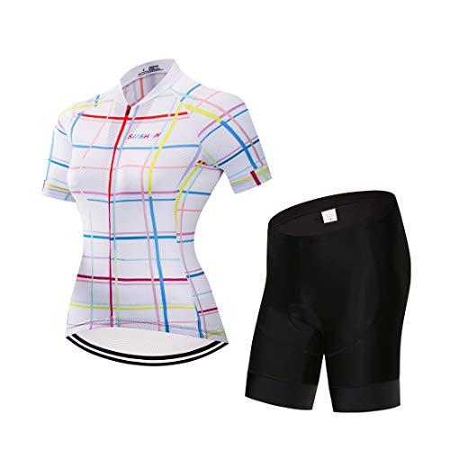 GWELL Damen Radtrikot Atmungsaktive Fahrradbekleidung Set Trikot Kurzarm + Shorts mit Sitzpolster für Radsport Weiß L