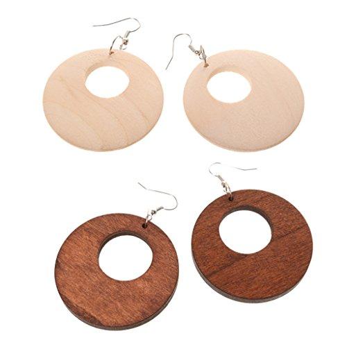 2 Pairs Brown/Natural Wood Earrings African Wooden Earrings for Women Statement Circle Earrings