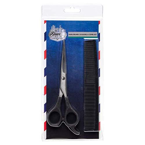 The Shave Factory Hair/Beard Scissors & Comb - Juego de tijeras para cortar el pelo y peineta