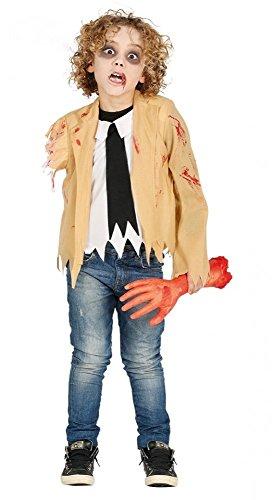shoperama Kinder Halloween Kostüm Zombie mit abgerissenem Arm blutig The Walking Dead Horror, Kindergröße:134 - 7 bis 9 Jahre