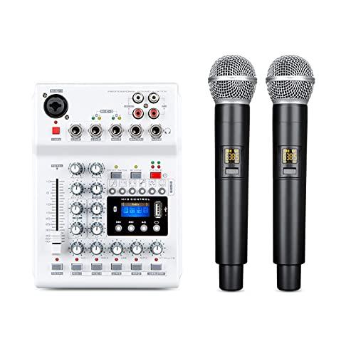 Mesa de Mezclas, con cables y micrófonos de mano de doble frecuencia UHF, para estudio en casa, reuniones, fiestas, iglesias, DJ, bodas