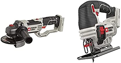 PORTER-CABLE 20V MAX Angle Grinder Tool, 4-1/2-Inch, Tool Only (PCC761B) & 20V MAX Jig Saw, Tool Only (PCC650B)