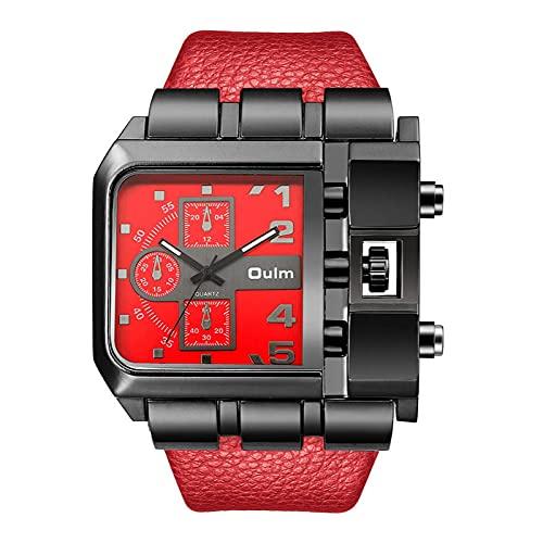 Shmtfa Relojes Deportivos Rectangulares para Hombre,Reloj Pulsera Cuarzo AnalóGico,CronóGrafo No Resistente Al Agua con Correa PU para DecoracióN MuñEca Moda(Rojo)