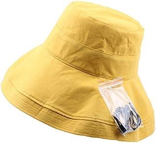 DIEBELLAU Women's Summer Big Visor Hat Breathable Cotton and Linen Folding Cloth Hat Sun Hat UV Protection Fisherman Hat Basin Cap (Color : Yellow, Size : 58CM)