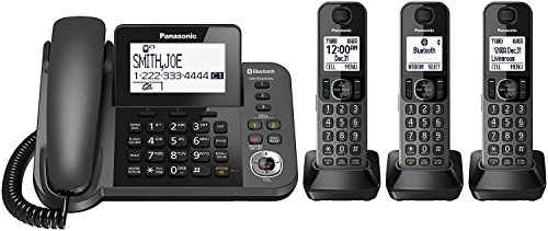 Panasonic KX-TGF383M Link2Cell Bluetooth Corded / Cordless Cordless Phone and Answering Machine with 3 Cordless Handsets (Renewed)