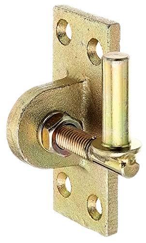 GAH-Alberts 318239 Kloben zum Anschrauben | verstellbar um 20 mm | galvanisch gelb verzinkt | Dornmaß Ø13 mm | Platte 105 x 45 mm