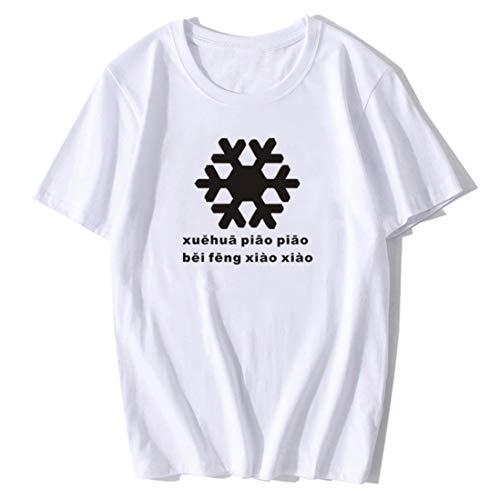 GL SUIT Xue Hua Piao Piao Print Top Rundhals Kurzarm Brief Unisex Casual T-Shirt für Männer und Frauen, 2020 Tiktok Net Egg Man XXX-Large weiß