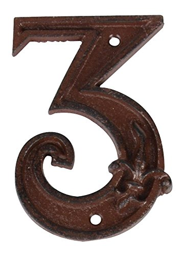 Esschert Design Gusseiserne Hausnummer 3, rostbraun, 8 x 1.2 x 11.6, DB62-3