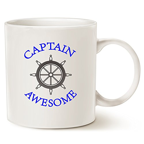 Funny Captain Awesome Coffee Mug Christmas Gifts, Unique Boat Steering Wheel Captain Awesome Porcelain Cup Gifts for Dad, Grandpa, Friend, White 14 Oz
