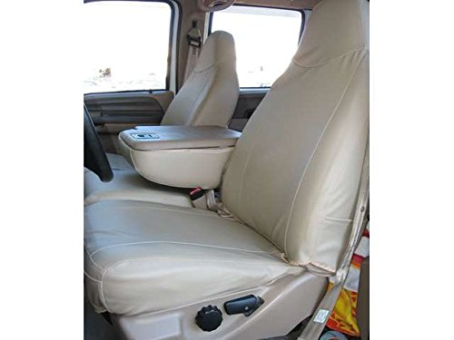Durafit Seat Covers Made to fit 1999-2007 Ford F250-F550, Front 40/20/40 Split Bench Seat Covers in Gray Endura Fabric with Pointed Molded Headrests and Opening Console