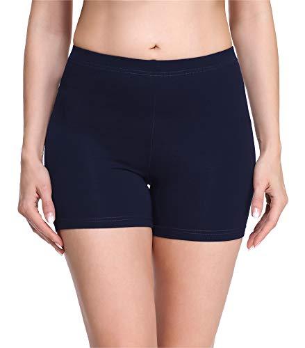 Merry Style Damen Shorts Radlerhose Unterhose Hotpants kurze Hose Boxershorts aus Viskose MS10-283(Marineblau,XL)