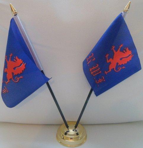 Royal Welch Fusiliers 2 Drapeau de Table pour centre de Table avec Base dorée