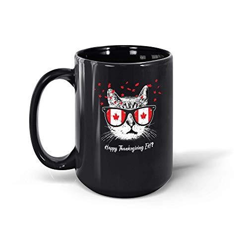 N\A Taza de café, acción de Gracias, Bandera de Canadá, Gato Canadiense, Gafas de Sol, Regalo para Hombres, Mujeres, 191028, Taza Negra de 11 oz