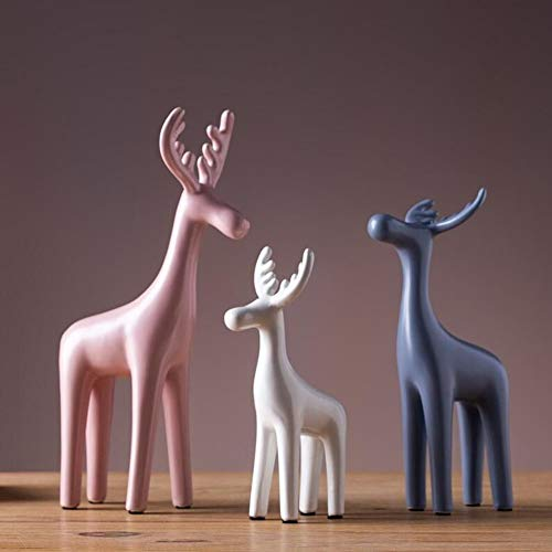Yangyang Reindeer Abstract Sculpture (Set of 3) Ceramics Statue Animal Figurine for Home Decoration Office Bar Ornaments Accessories Gifts Crafts,B