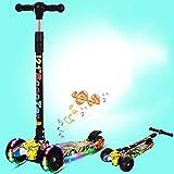 ZXS8 Enfants Scooter 4 Roues Coup de Pied Trottinette Scooter LED Roues Lumineuses poignée réglable en Hauteur pour 3-10 Ans garçons ou Filles légères chapiteaux de Musique Large Roue,Graffiti Yellow
