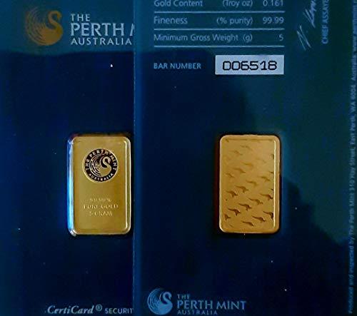 5 Gramm Gold 5 gr Goldbarren Barren Feingold 999,9 Perth Mint Australia