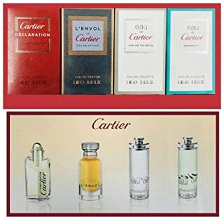 Cartier 4-Piece Mini Variety Set for Men (Declaration, L'envol, Eau de Cartier, Eau de Cartier Concentree)