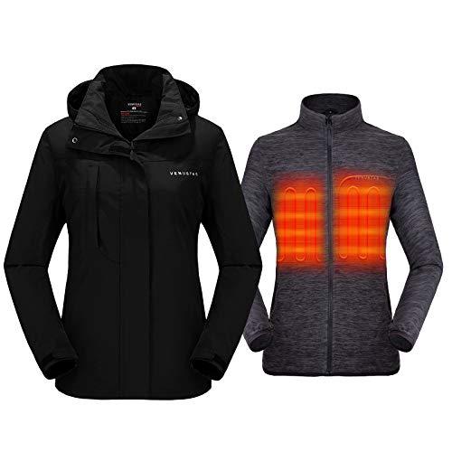 Venustas Women's 3-in-1 Heated Jacket with Battery Pack 5V,Ski Jacket Winter Jacket with Removable Hood Waterproof Black