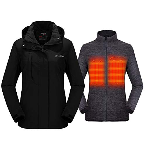 Venustas Women's 3-in-1 Heated Jacket with Battery Pack 5V,Ski Jacket Winter Jacket with Removable...