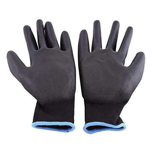 Guantes de trabajo profesionales de poliuretano, guantes de revestimiento, guantes antiestáticos para la protección electrónica IC, color negro, 12 pares