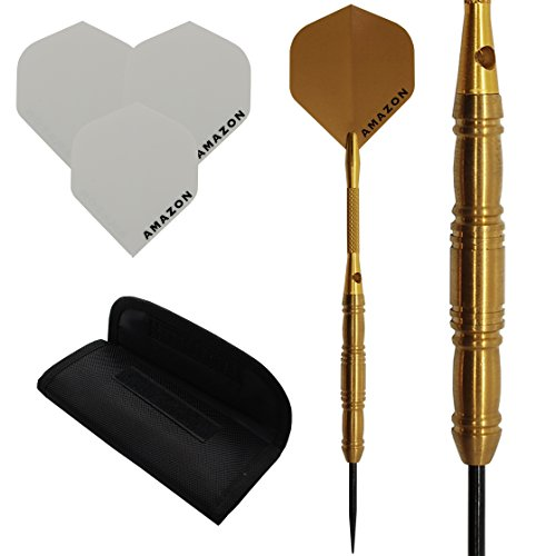 26G 95% juego de dardos de tungsteno 'Golden chorros de aluminio con dardos y dardos funda Amazon para dardos, color dorado–dorado y blanco