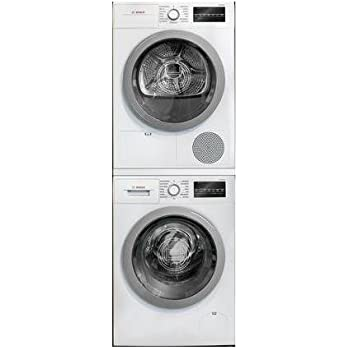 Amazon Com 500 Series White Front Load Compact Stacked Laundry Pair With Wat28401uc 24 Washer Wtg86401uc 24 Electric Condensation Dryer And Wtz20410 Stacking Kit Appliances