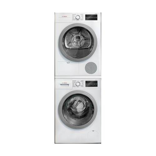 500 Series White Front Load Compact Stacked Laundry Pair with WAT28401UC 24 Washer WTG86401UC 24 Electric Condensation Dryer and WTZ20410 Stacking Kit