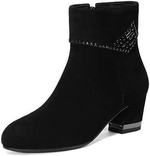 BalaMasa Womens Solid Frayed-Seams Warm Lining Urethane Boots ABM13567