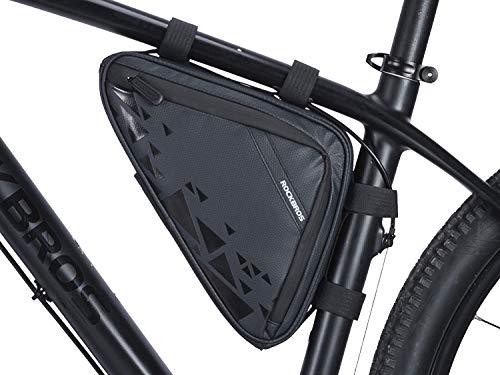 ROCKBROS Bolsa Triángulo Cuadro Tubo Superior de Manillar a Prueba de Agua Ciclismo para Bicicletas MTB Bici de Carretera Bici Plegable Urbana Capacidad 1,5L
