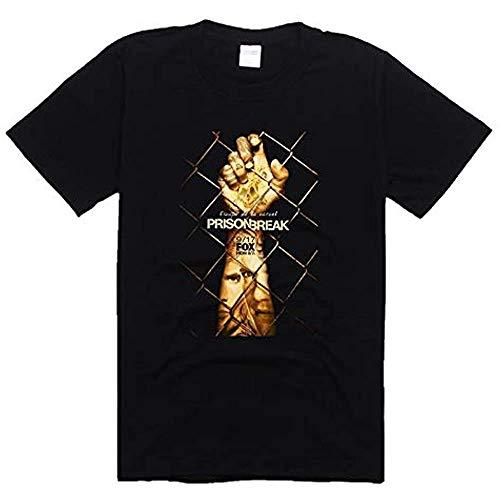 Men's Black T-Shirt Prison Break Season 5 Michael Scofield Punk Rock Funny Short Sleeve Cotton Round Neck T Shirts Casual Summer Fashion Dress Printed Tops