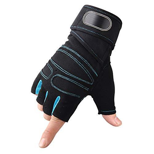 YUZZZKUNHCZ Guantes de fitness para mujer, guantes de levantamiento de pesas, guantes de bicicleta, guantes de medio dedo, azul, negro, rojo, M, L, XL (color: azul, tamaño: mediano)