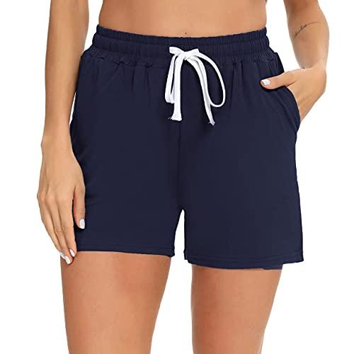 NC Women's Stripe Pajama Shorts High Waist Ruffle Athletic pj Shorts Workout Casual pj Bottoms Dark Blue