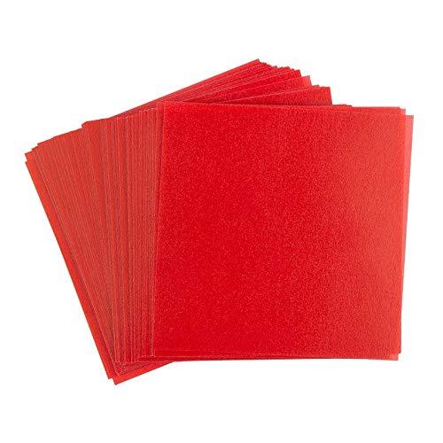 Ideen mit Herz Transparentpapier | 100 Blatt | quadratisch | Premium-Qualität | 110 g/qm | ideales Faltpapier zum Sterne basteln | transparentes Bastelpapier (rot, 15 x 15 cm)