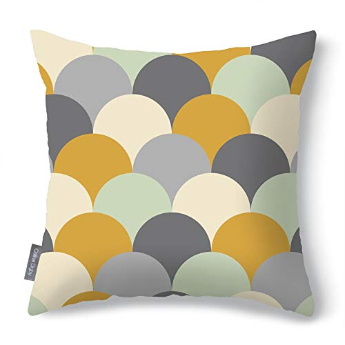 Celina Digby Waterproof Garden Cushion Designer Outdoor Pillow Generously Filled Hollow Fibre. Yellow. Square. Size 43x43cm, 17'x17' Scandi Hills