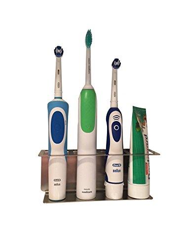Zahnbürstenhalter aus Edelstahl, Halter für elektrische Zahnbürsten 4 Plätze