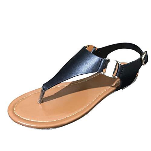 Kolylong® Gladiator Flach Flachen Sandalen Flache Sandalen mit Metallschnalle für Damen Flip-Flops Knöchelriemen Schnalle Sandalen Sommer Frauen Sandalen PU Leder Zehentrenner Schuh Riemchensandalen