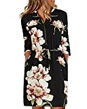 YOINS - Vestido de mujer hasta la rodilla, elegante, de manga larga, cuello en V, manga corta, con botones Flores negras. XL