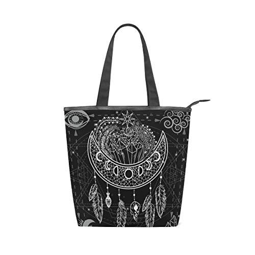 Jeansame Canvas Tote Bag Vrouwen Shopper Top Handvat Tassen Schouder Handtassen met Rits Vintage Zwarte Maan Zonneveren Boheems